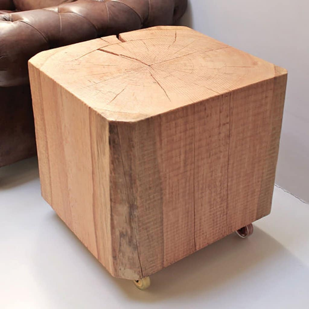 Timber Block Mobile Record Player Side Table